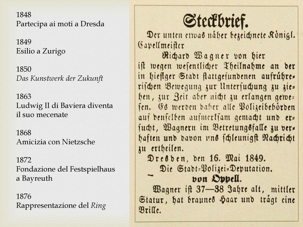 1848 Partecipa ai moti a Dresda