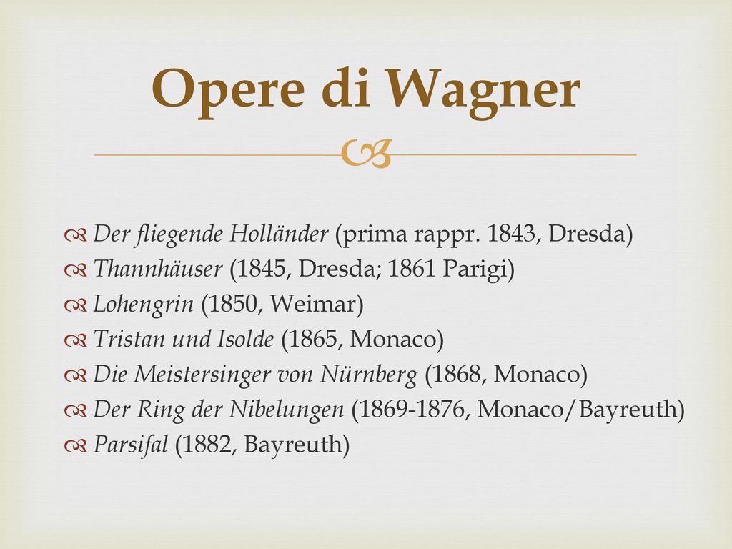 Opere di Wagner Der fliegende Holländer (prima rappr. 1843, Dresda)