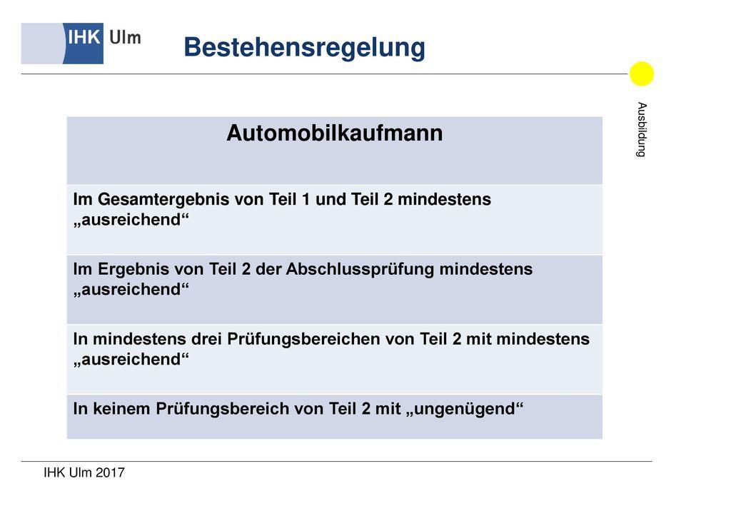 Bestehensregelung Automobilkaufmann