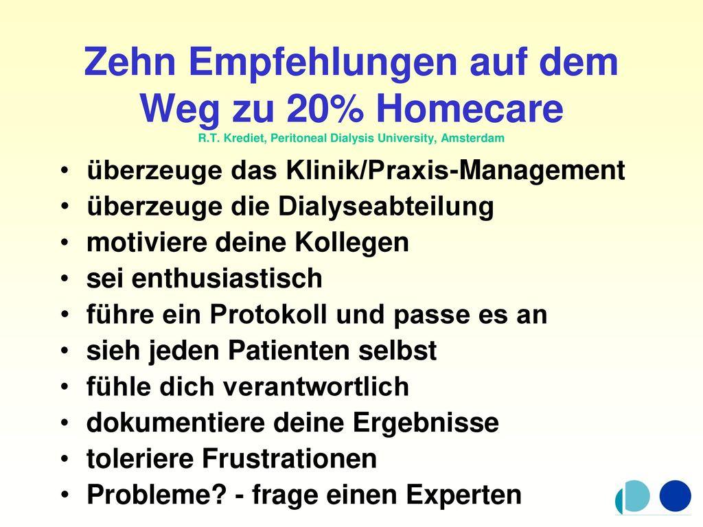 Zehn Empfehlungen auf dem Weg zu 20% Homecare R. T