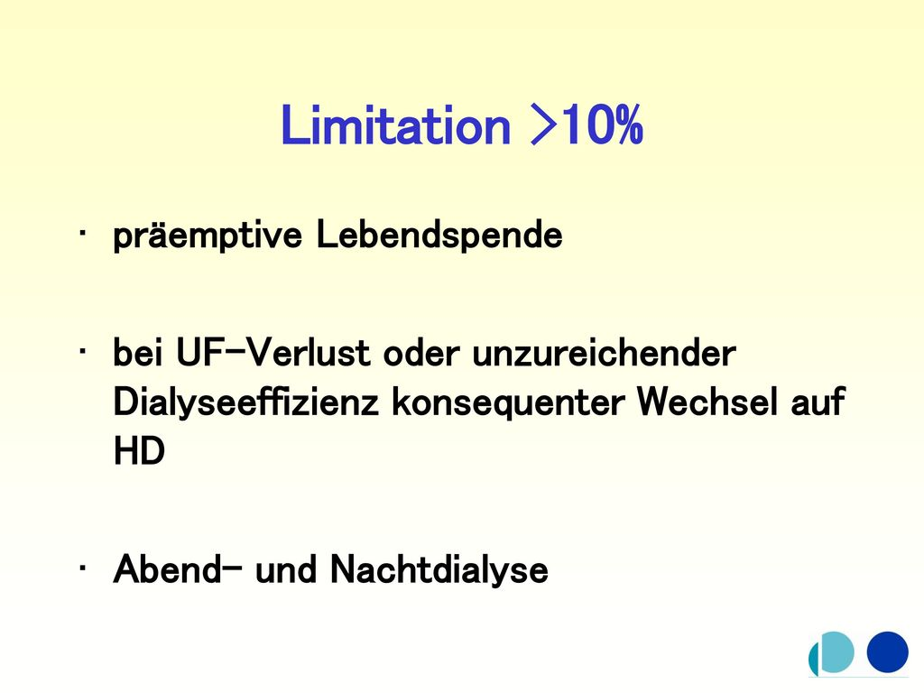 Limitation >10% präemptive Lebendspende