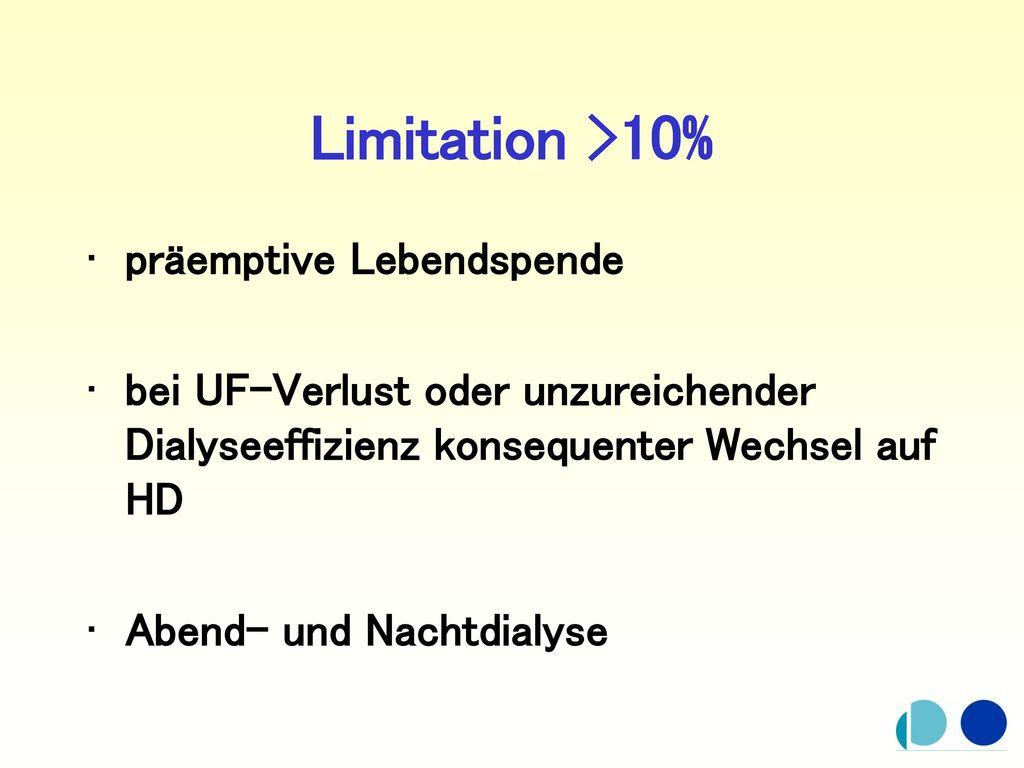 Limitation >10% präemptive Lebendspende