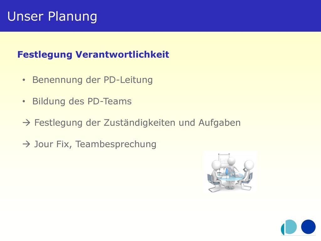 Unser Planung Festlegung Verantwortlichkeit Benennung der PD-Leitung