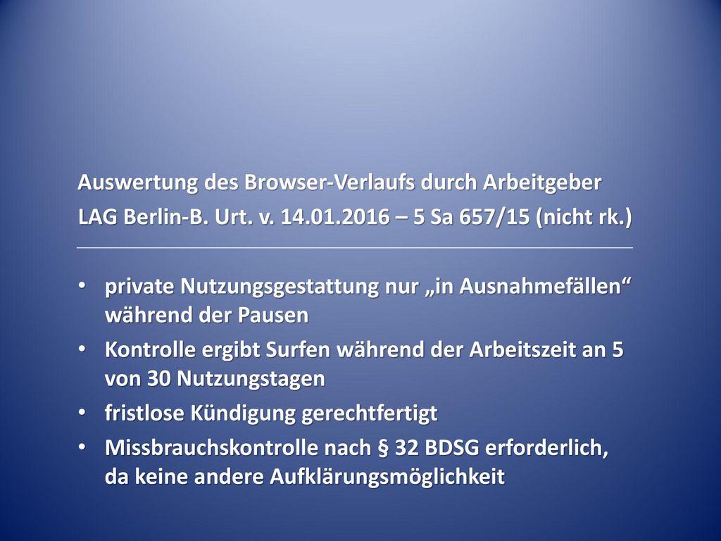 Auswertung des Browser-Verlaufs durch Arbeitgeber
