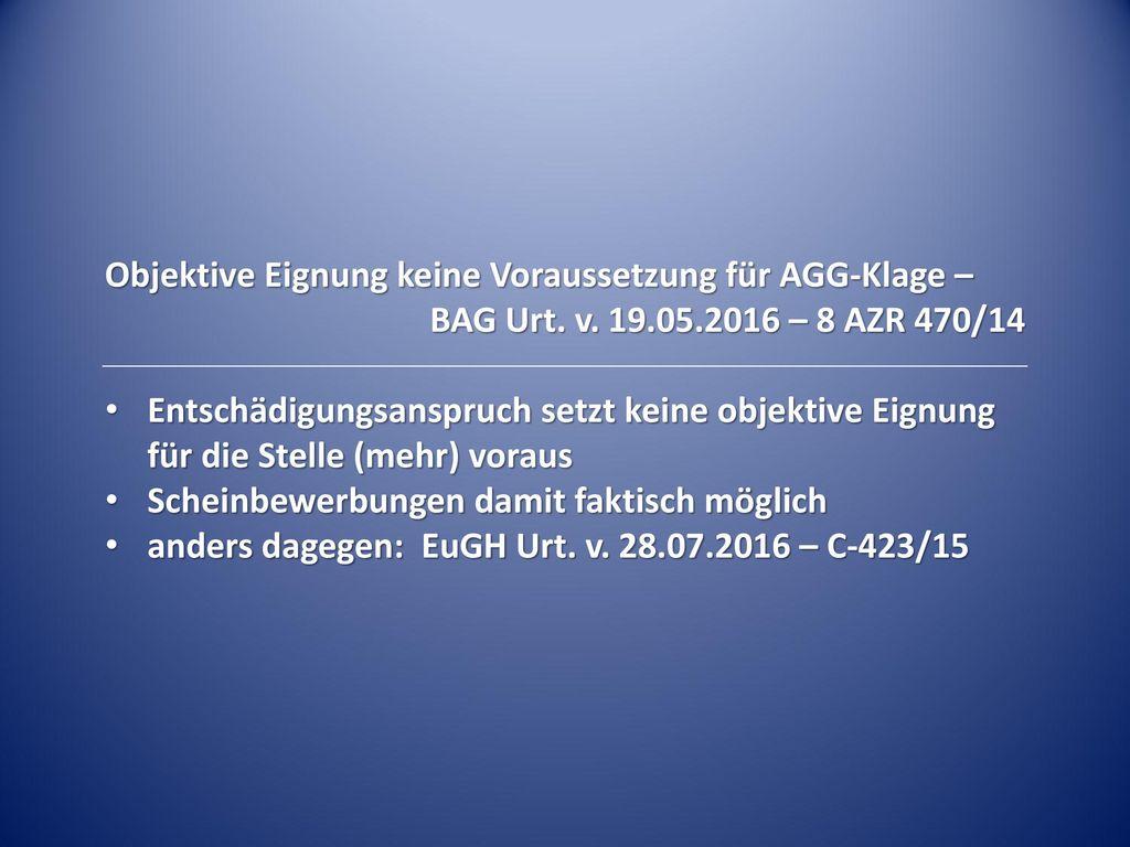 Objektive Eignung keine Voraussetzung für AGG-Klage –