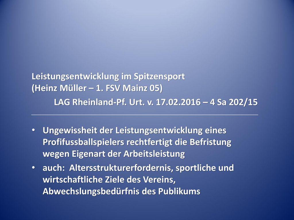 Leistungsentwicklung im Spitzensport (Heinz Müller – 1. FSV Mainz 05)