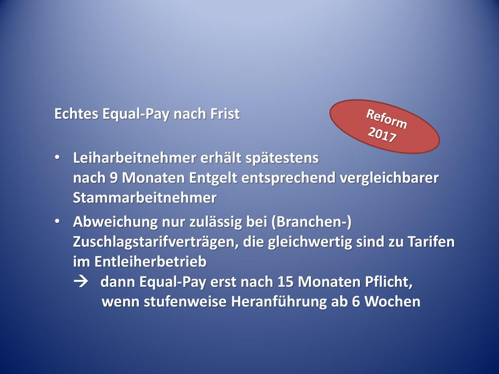 Echtes Equal-Pay nach Frist