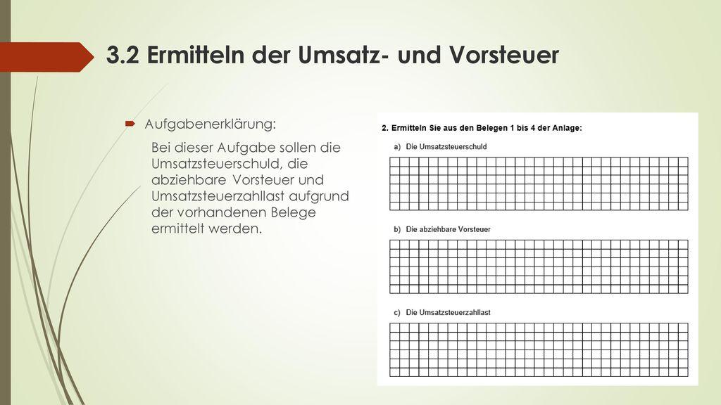 3.2 Ermitteln der Umsatz- und Vorsteuer