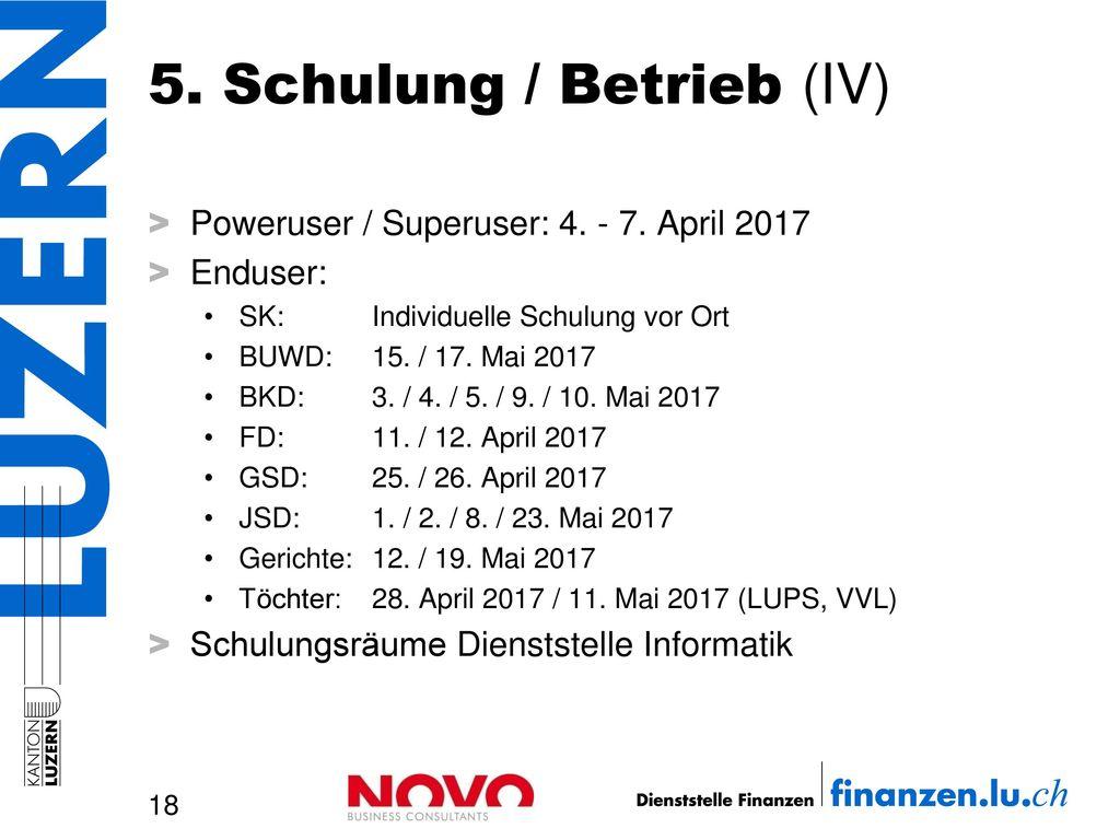 5. Schulung / Betrieb (IV)
