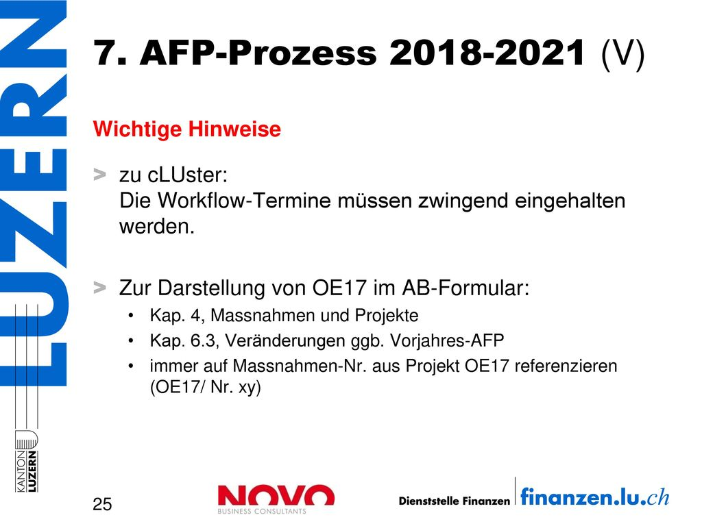 7. AFP-Prozess 2018-2021 (V) Wichtige Hinweise