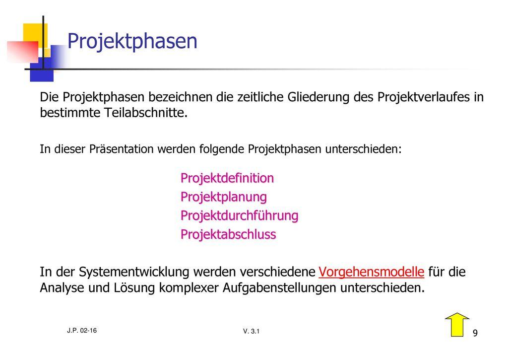 Projektphasen Die Projektphasen bezeichnen die zeitliche Gliederung des Projektverlaufes in bestimmte Teilabschnitte.