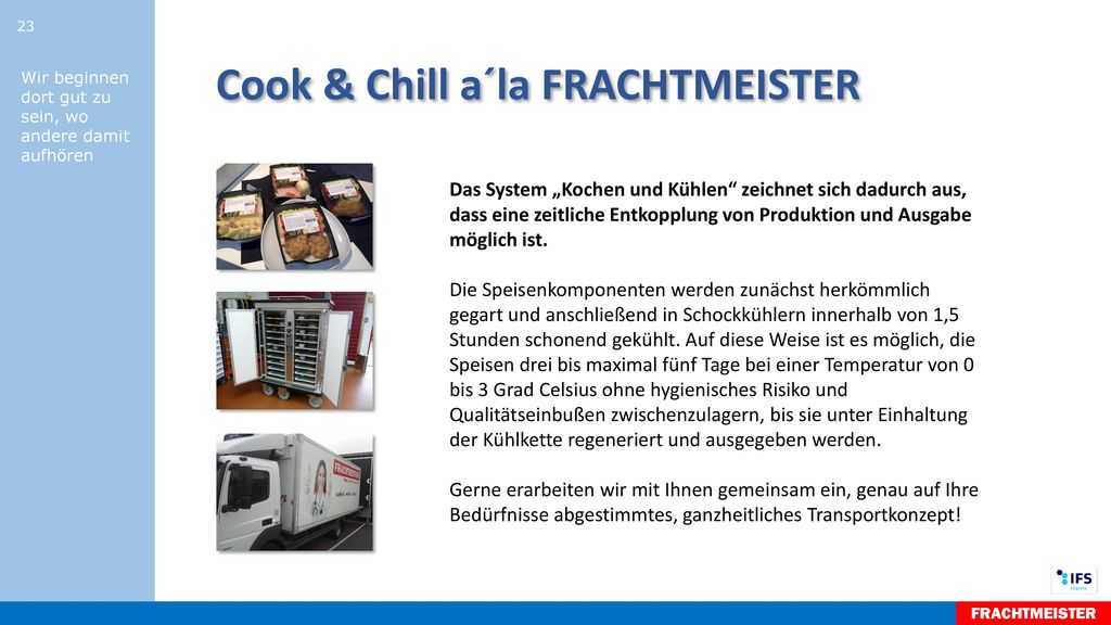 Cook & Chill a´la FRACHTMEISTER