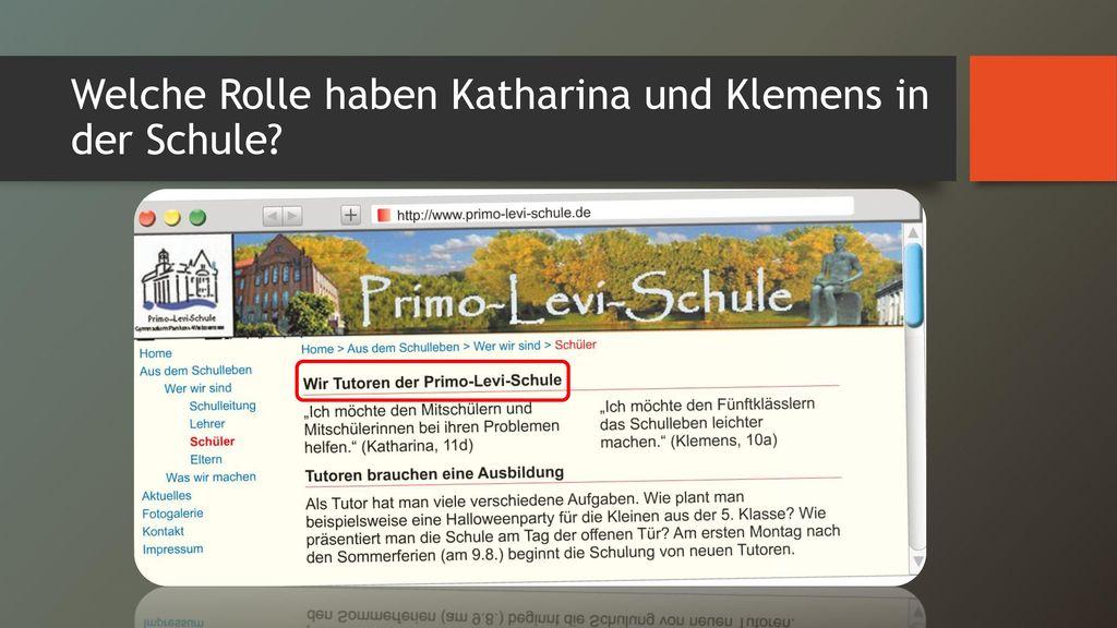 Welche Rolle haben Katharina und Klemens in der Schule