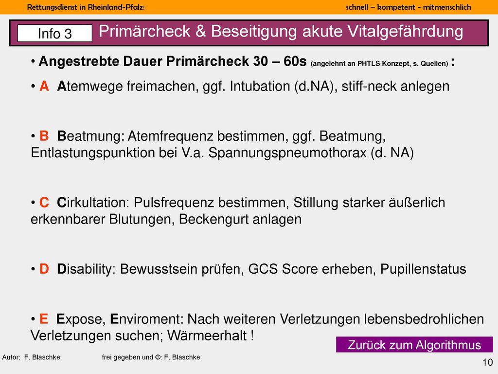 Primärcheck & Beseitigung akute Vitalgefährdung
