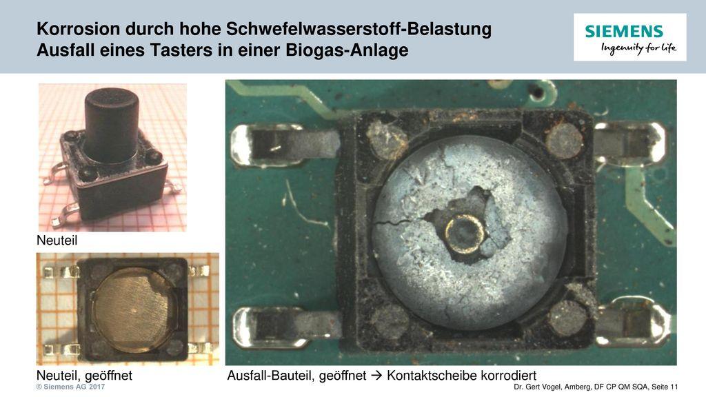 Korrosion durch hohe Schwefelwasserstoff-Belastung Ausfall eines Tasters in einer Biogas-Anlage
