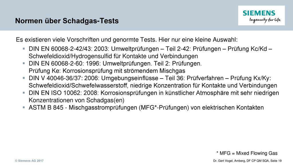 Normen über Schadgas-Tests