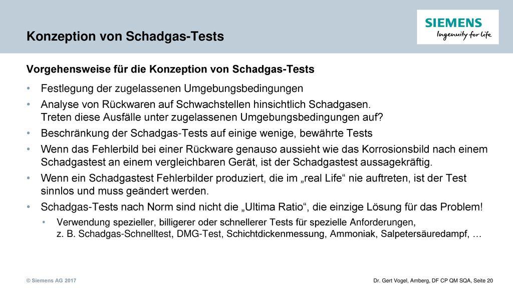 Konzeption von Schadgas-Tests