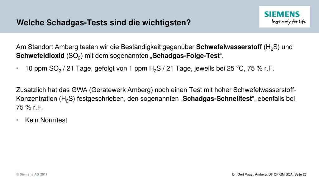 Welche Schadgas-Tests sind die wichtigsten