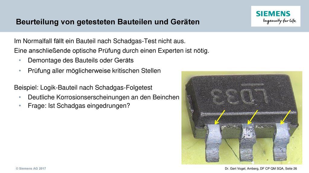 Beurteilung von getesteten Bauteilen und Geräten