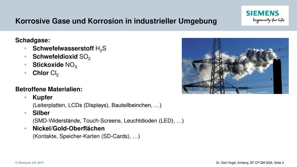 Korrosive Gase und Korrosion in industrieller Umgebung