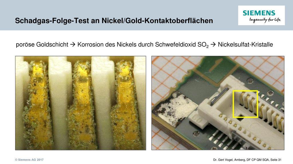 Schadgas-Folge-Test an Nickel/Gold-Kontaktoberflächen