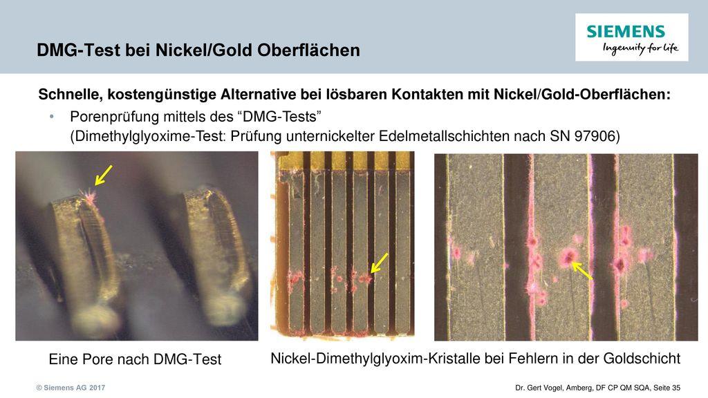 DMG-Test bei Nickel/Gold Oberflächen