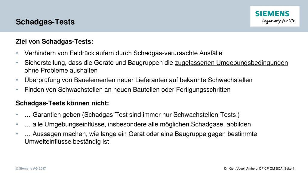 Schadgas-Tests Ziel von Schadgas-Tests: