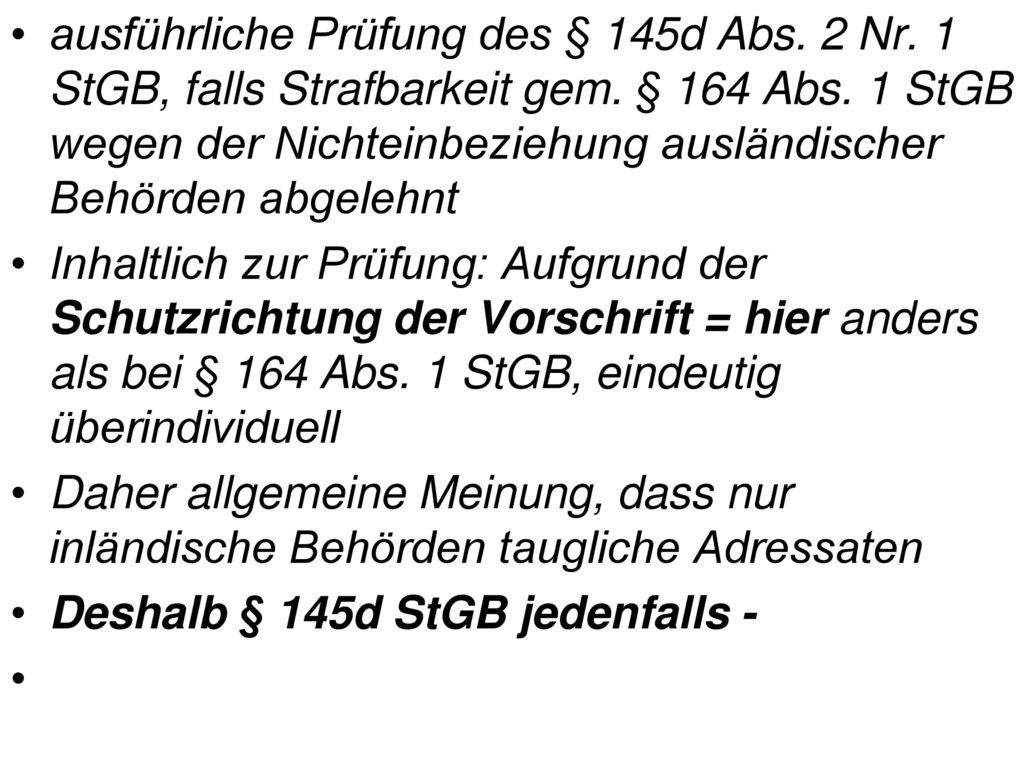 ausführliche Prüfung des § 145d Abs. 2 Nr