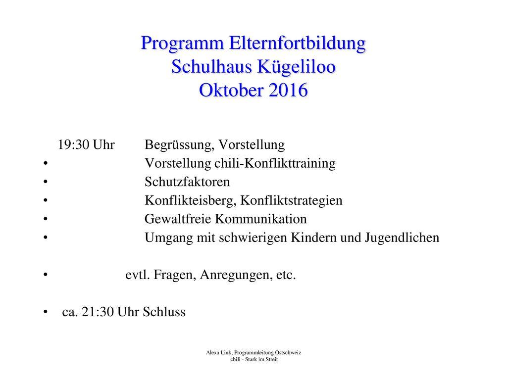 Programm Elternfortbildung Schulhaus Kügeliloo Oktober 2016