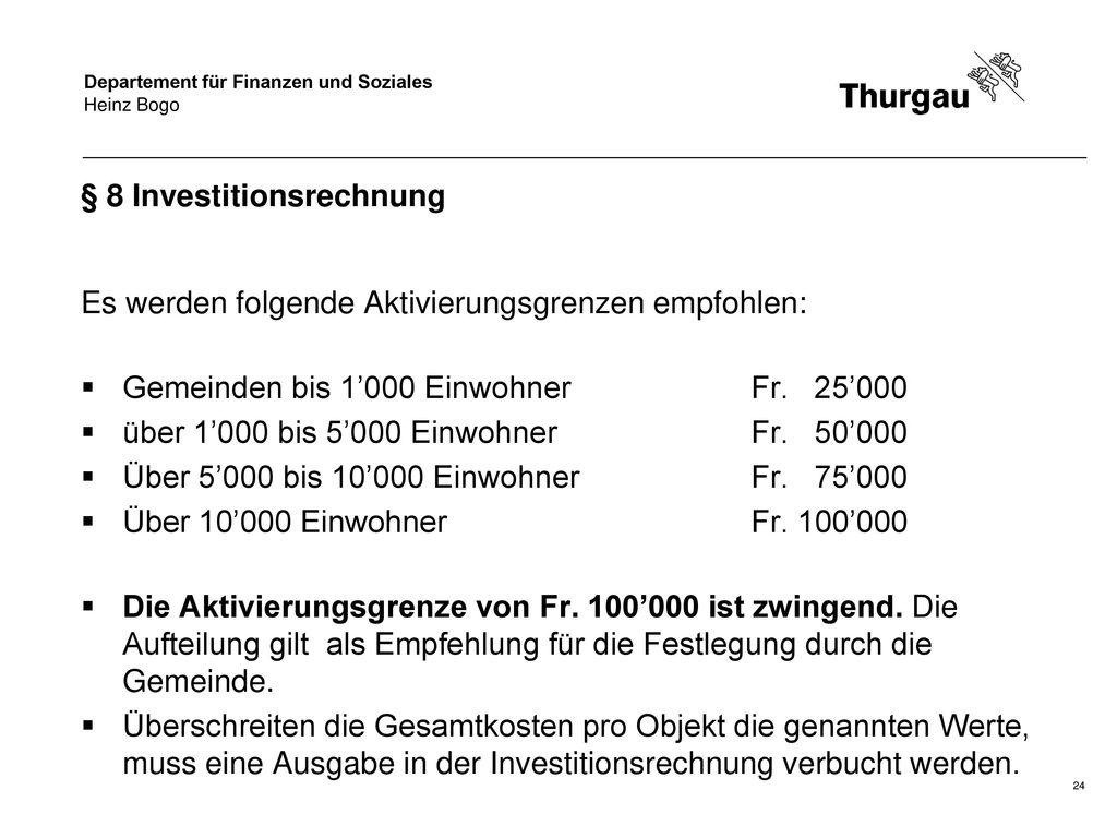 § 8 Investitionsrechnung
