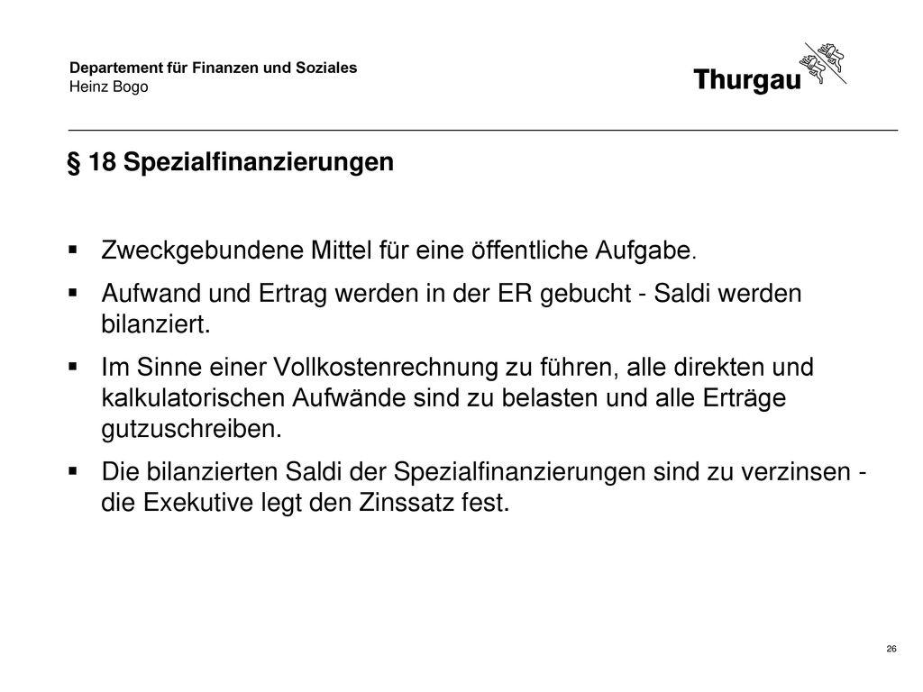 § 18 Spezialfinanzierungen