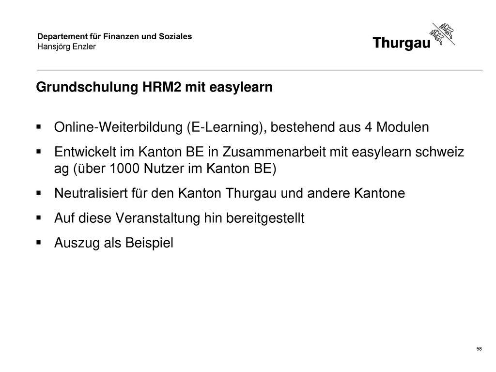 Grundschulung HRM2 mit easylearn