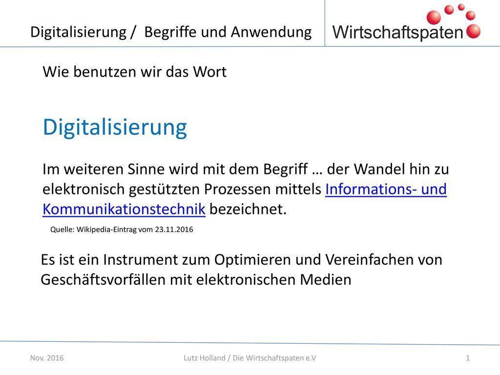 Digitalisierung / Begriffe und Anwendung