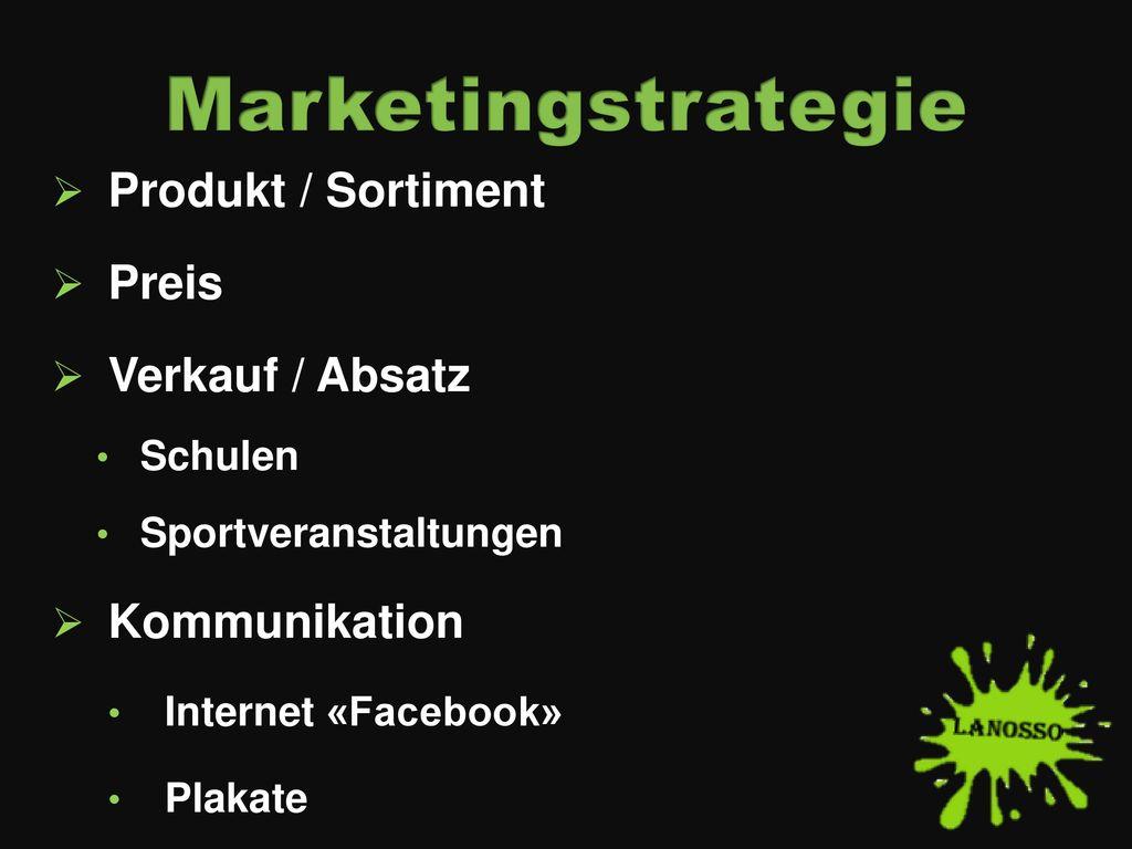 Marketingstrategie Produkt / Sortiment Preis Verkauf / Absatz