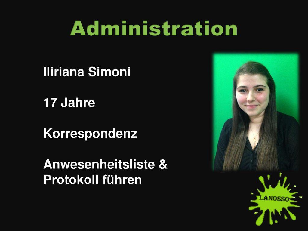 Administration Iliriana Simoni 17 Jahre Korrespondenz