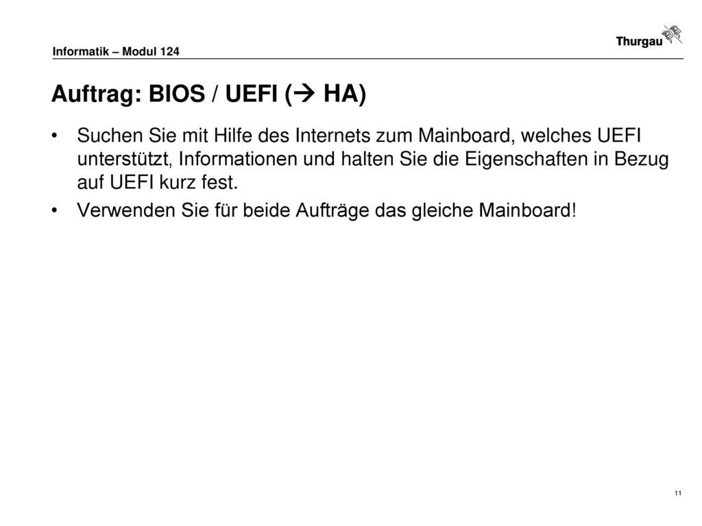 Auftrag: BIOS / UEFI ( HA)