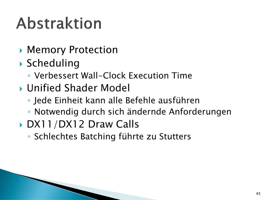 Abstraktion Memory Protection Scheduling Unified Shader Model