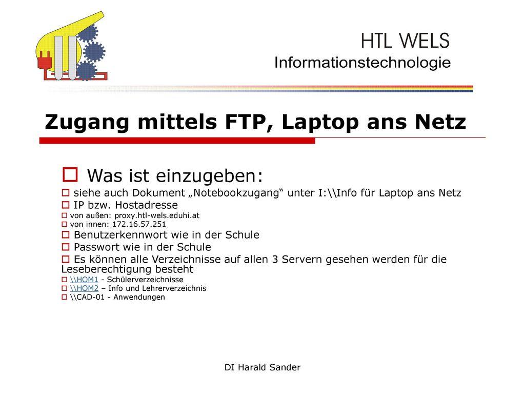 Zugang mittels FTP, Laptop ans Netz
