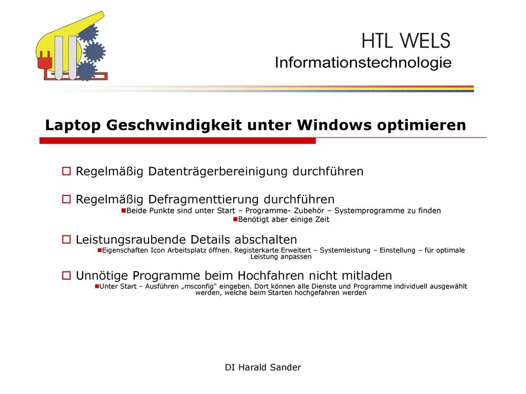 Laptop Geschwindigkeit unter Windows optimieren