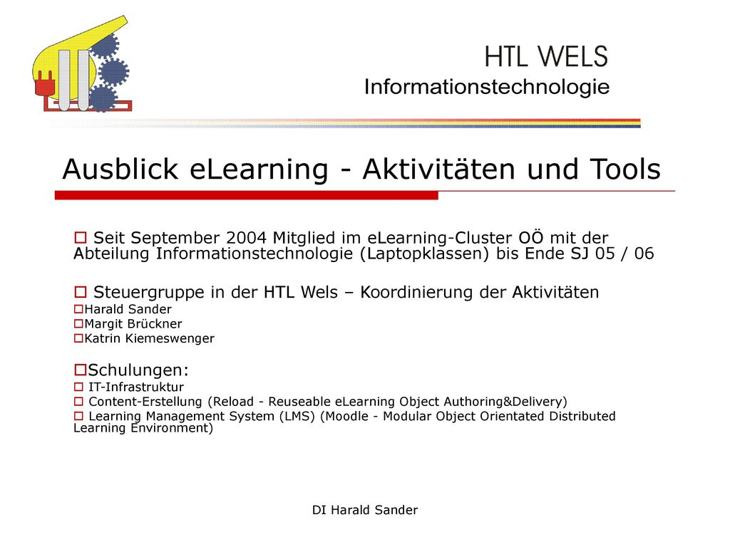 Ausblick eLearning - Aktivitäten und Tools