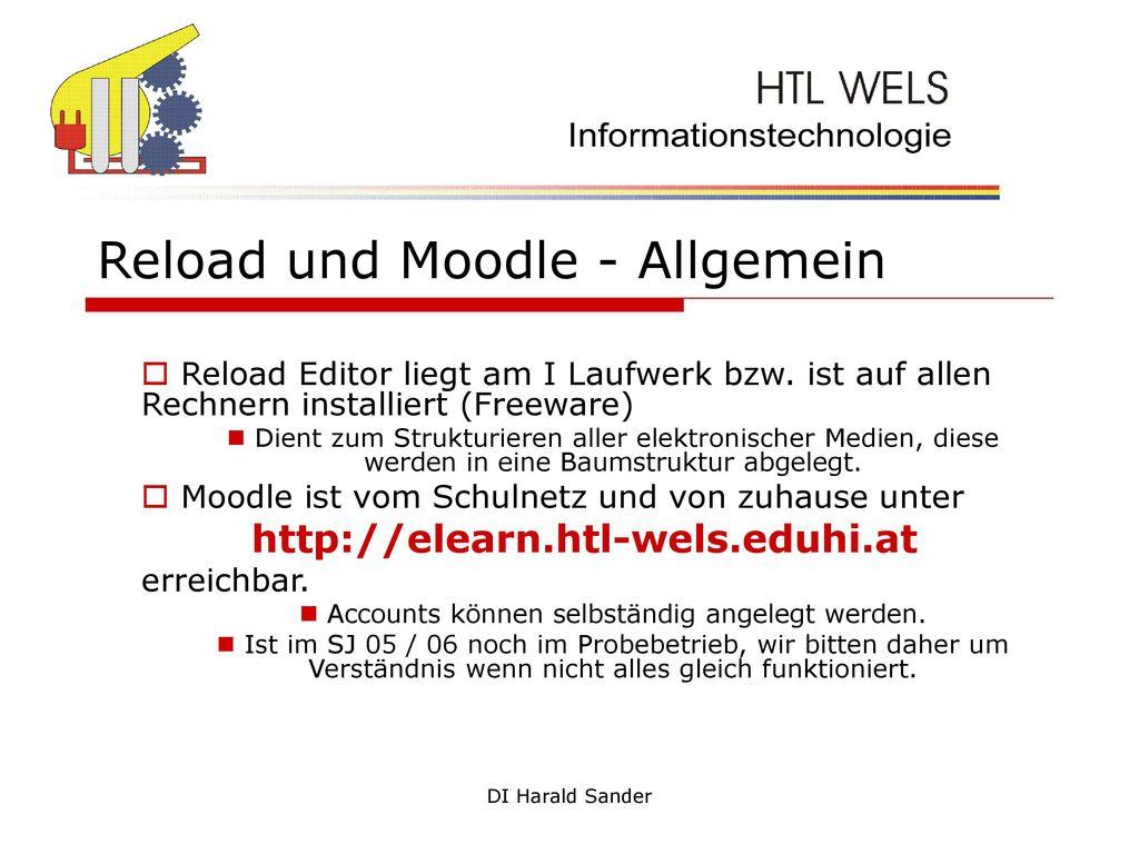Reload und Moodle - Allgemein