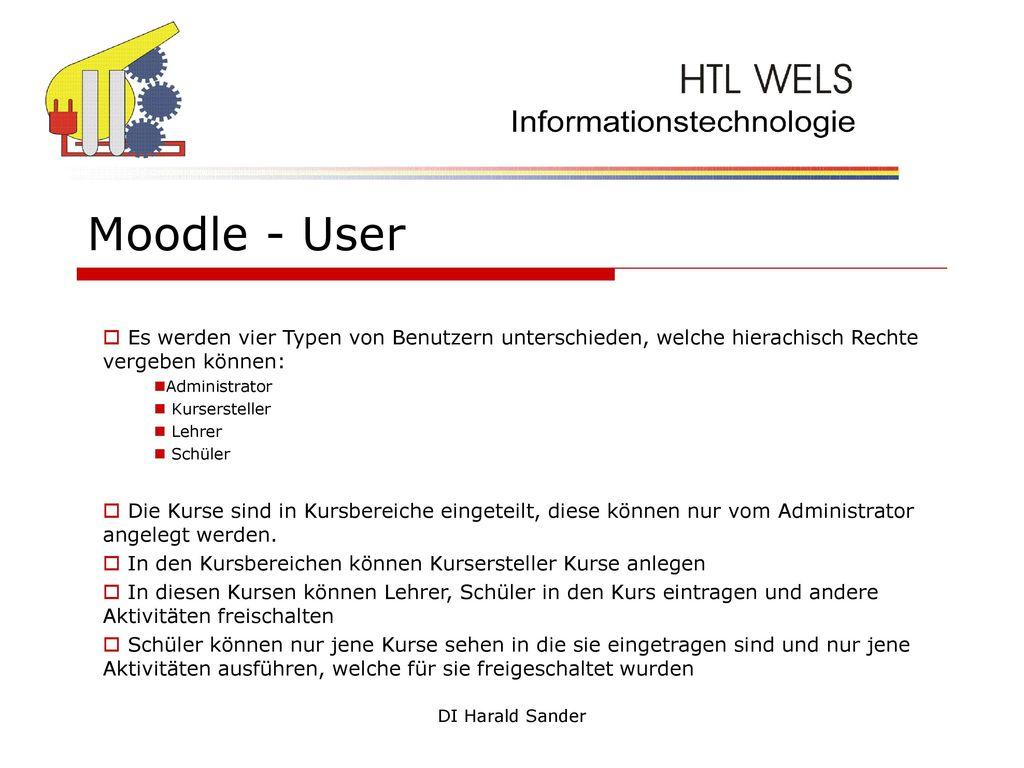 Moodle - User Es werden vier Typen von Benutzern unterschieden, welche hierachisch Rechte vergeben können: