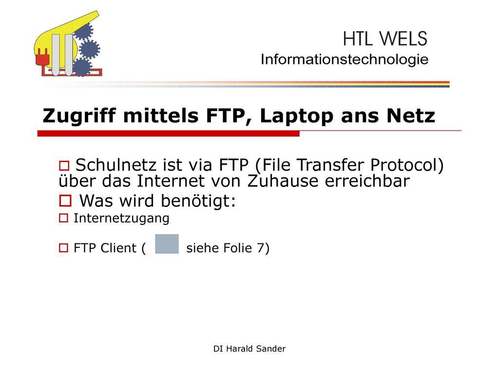 Zugriff mittels FTP, Laptop ans Netz