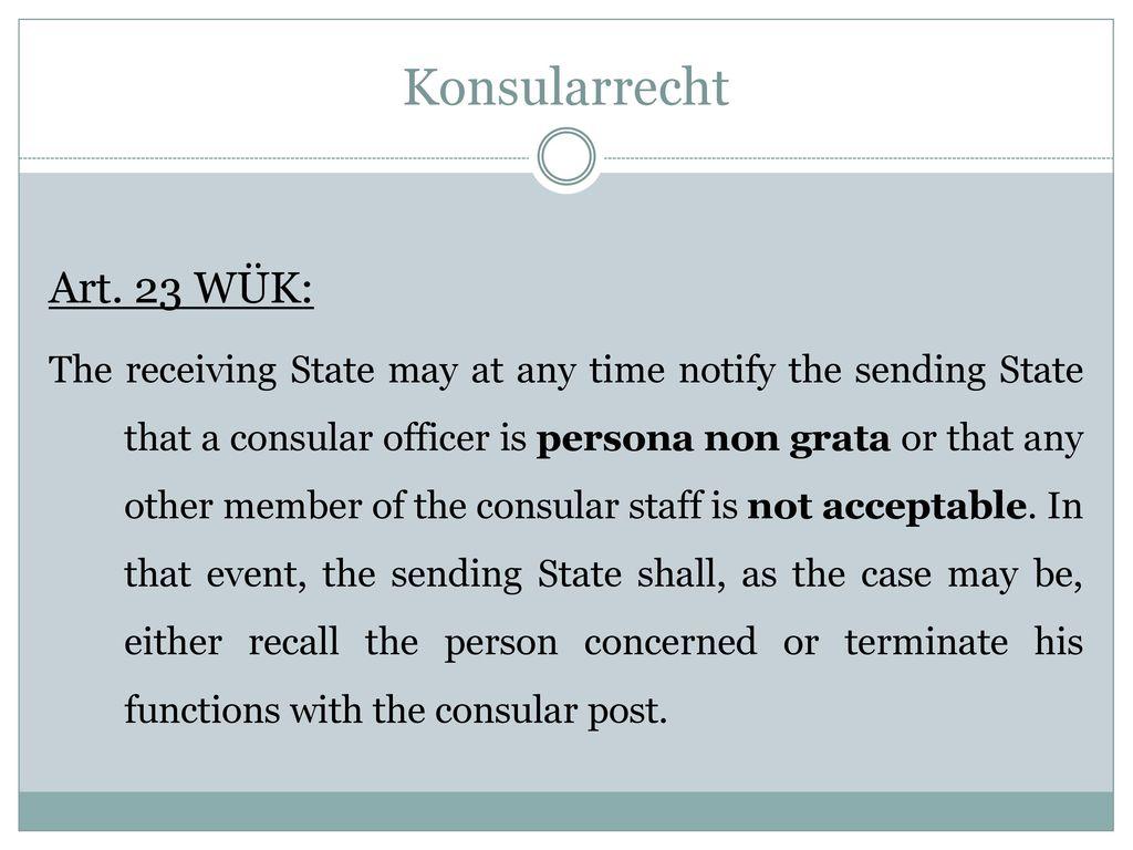 Konsularrecht Art. 23 WÜK: