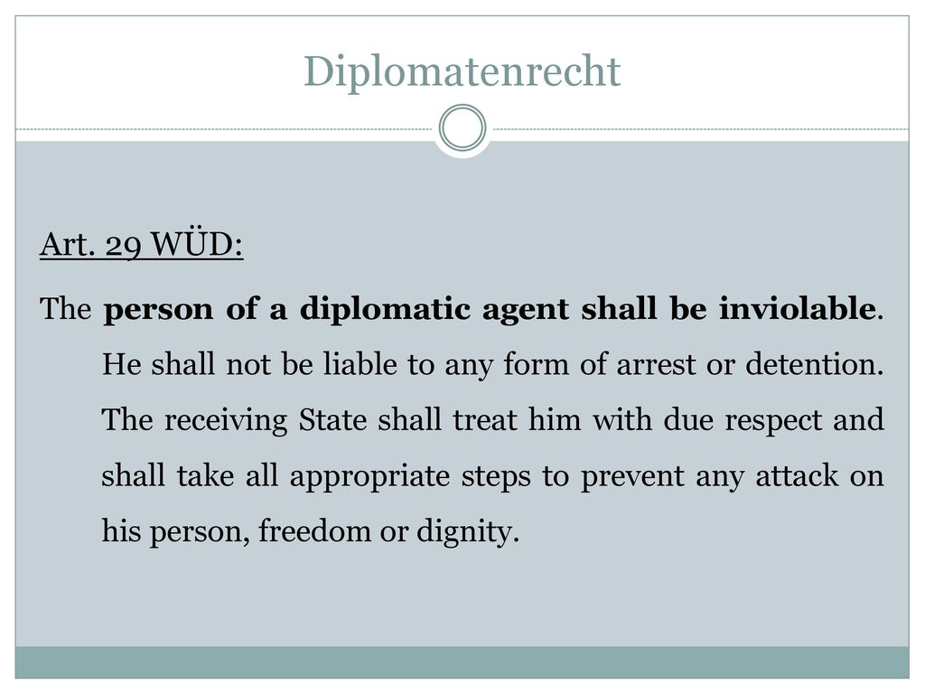 Diplomatenrecht Art. 29 WÜD: