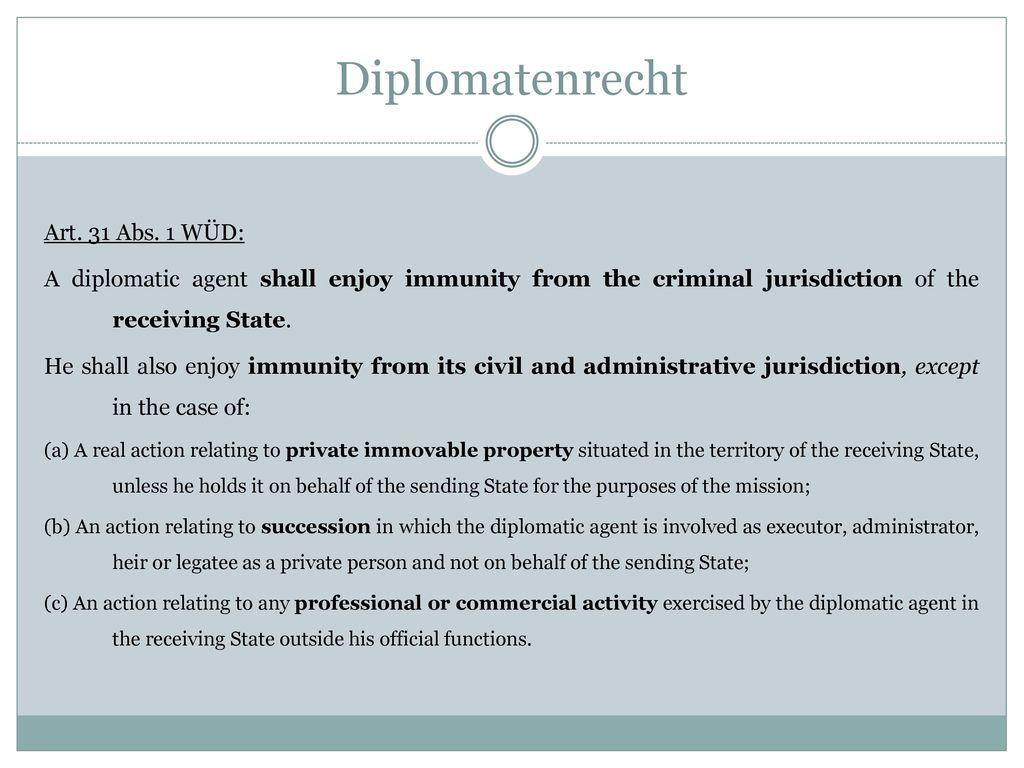 Diplomatenrecht Art. 31 Abs. 1 WÜD: