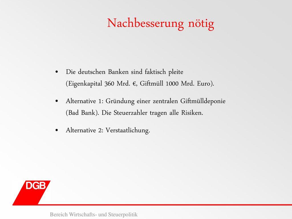 Nachbesserung nötig Die deutschen Banken sind faktisch pleite (Eigenkapital 360 Mrd. €, Giftmüll 1000 Mrd. Euro).