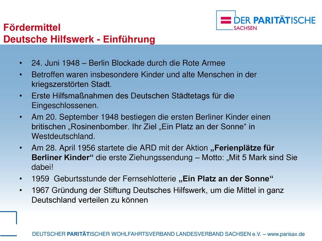 Fördermittel Deutsche Hilfswerk - Einführung