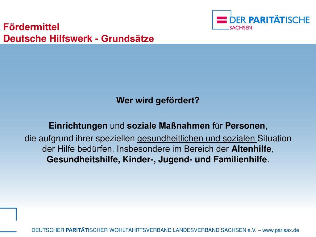 Fördermittel Deutsche Hilfswerk - Grundsätze