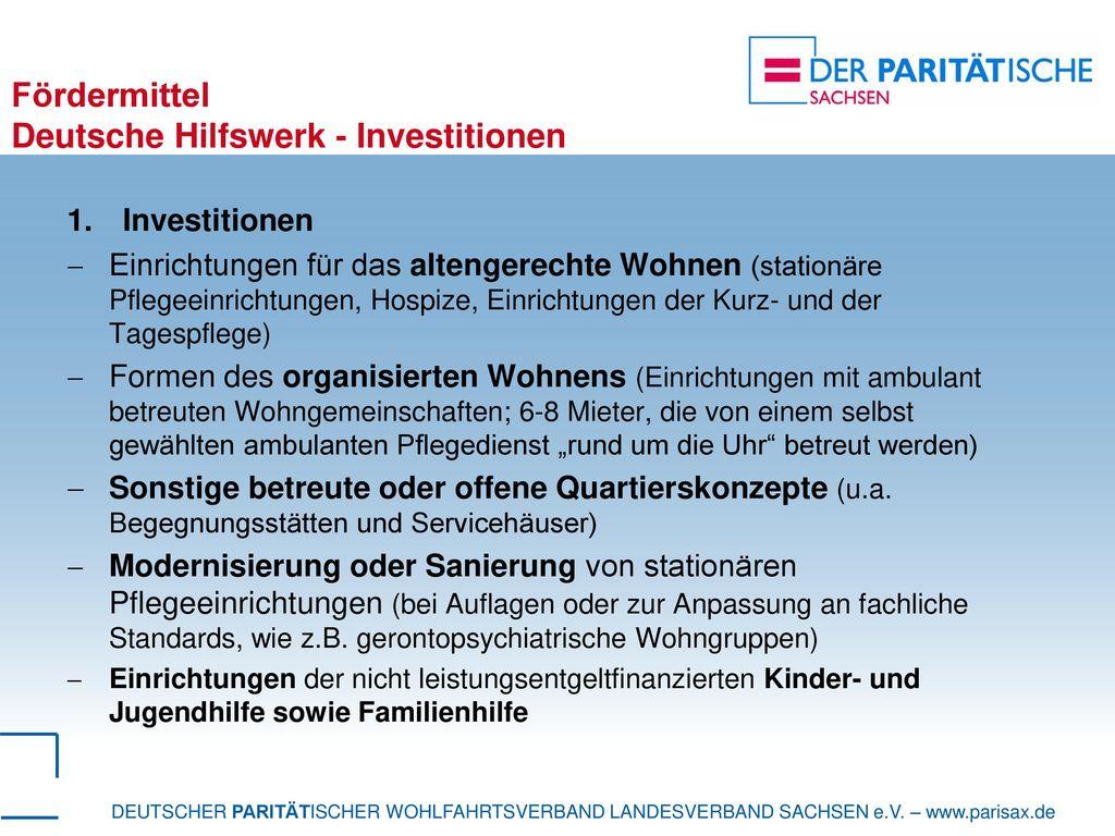 Fördermittel Deutsche Hilfswerk - Investitionen